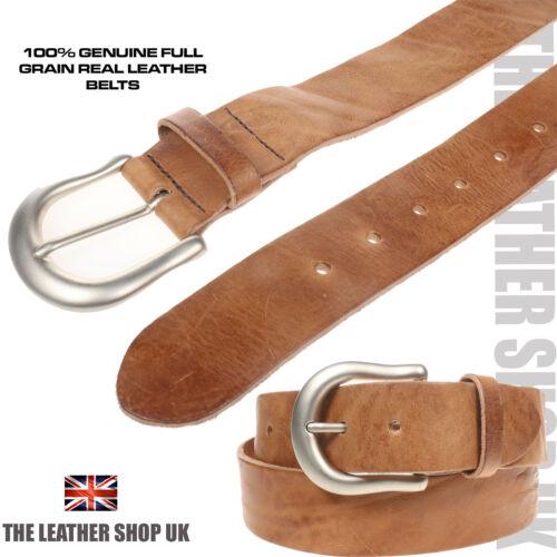 New 40mm Tan Soft Hide Made In UK Horseshoe Matt Buckle Real Leather Belt