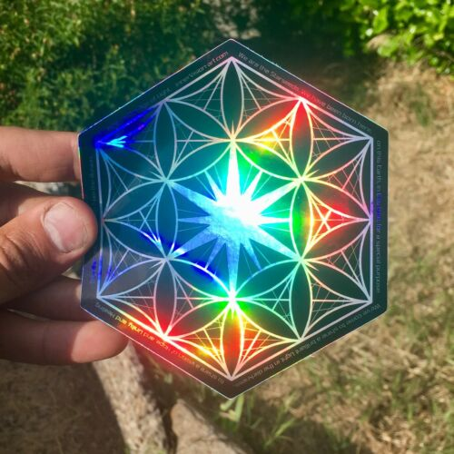 """STARSEED Flower of Life Sacred Geometry 5/"""" Holographic Sticker"""