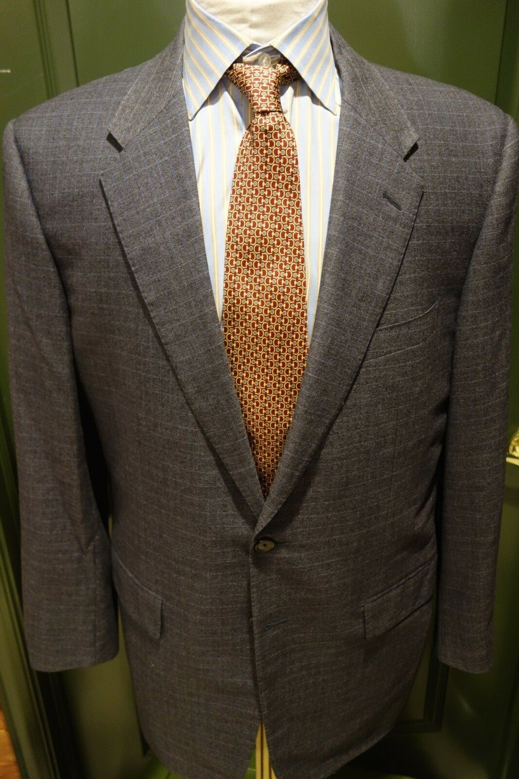 Corneliani grau Blau Plaid Wool Sport Coat 44L 54EU Made