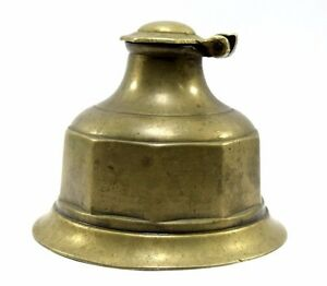 19c Indian Antique Hand Crafted Brass Ink Well Pot collectible. G7-175
