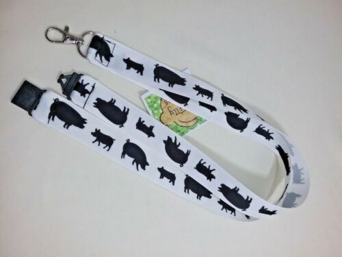 Farmyard pigs silhouette white ribbon lanyard safety clip ID badge holder animal