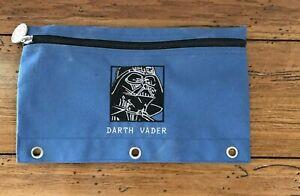 Vintage-Star-Wars-Darth-Vader-Figure-Zip-Cloth-Pencil-Case-Collectible-Blue
