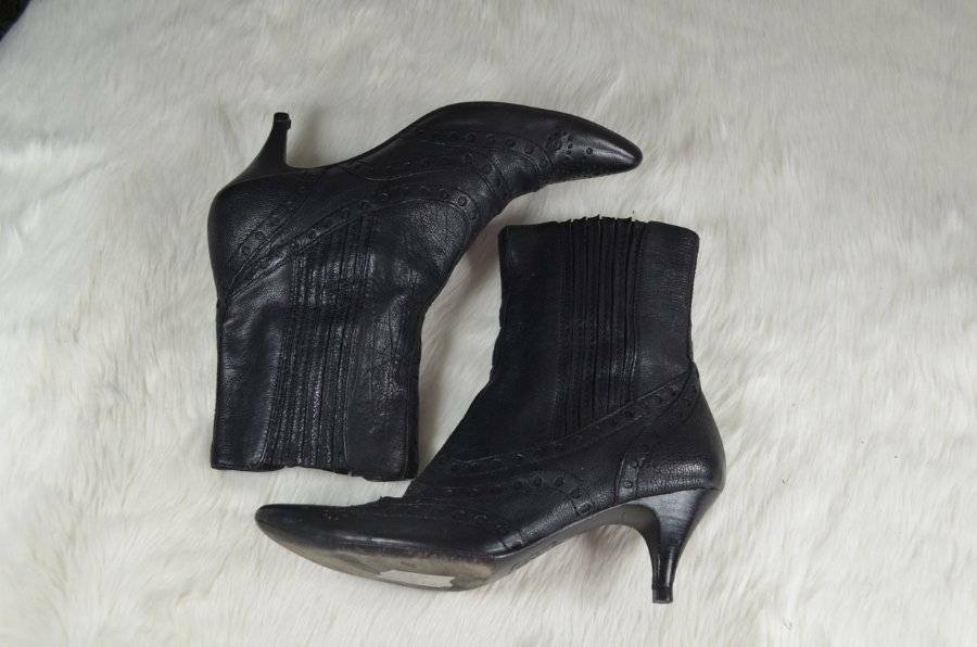ASH nero Leather Granny Victorian Witchy Pointed Toe WiPull On stivali 36 6