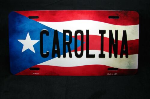 PUERTO RICO FLAG CAROLINA ISLA DEL ENCANTO METAL NOVELTY LICENSE PLATE FOR CARS