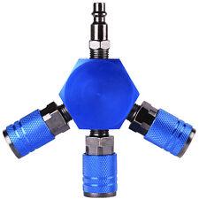 """3-Ways Flat Hex Manifold 1/4"""" NPT Air Connector Air Hose Splitter Coupler"""