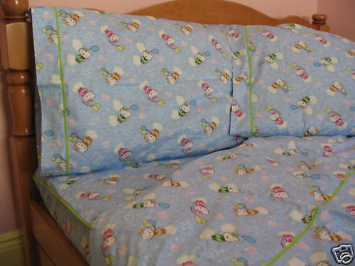 Kids Cotton Twin Size Bedding Set bluee Kitty Stars Balloons