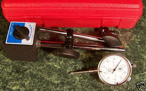 0-1  DIAL INDICATOR GAUGE with MAGNETIC BASE and CASE inch new