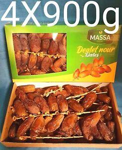 4 x 900 g dattes avec manche Deglet Nour de Tunisie Palmiers fruit figue Nature
