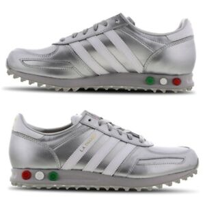 Details zu Adidas LA Trainers Mens Shoes Silver Red White Green Limited Edition All Sizes