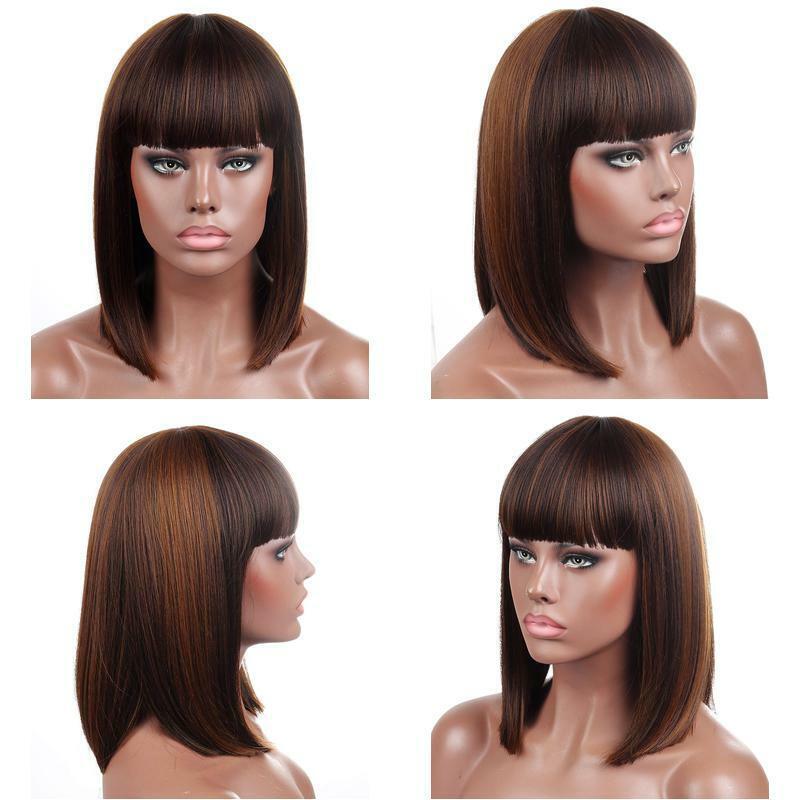 Kalyss Blunt Bob Short Hair Wigs For Women Heat Resista