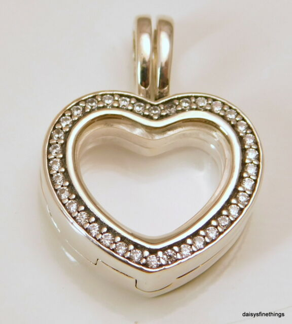 2080122c1 PANDORA 797248cz Charm Sparkling Floating Heart Locket Sapphire Crystal CZ