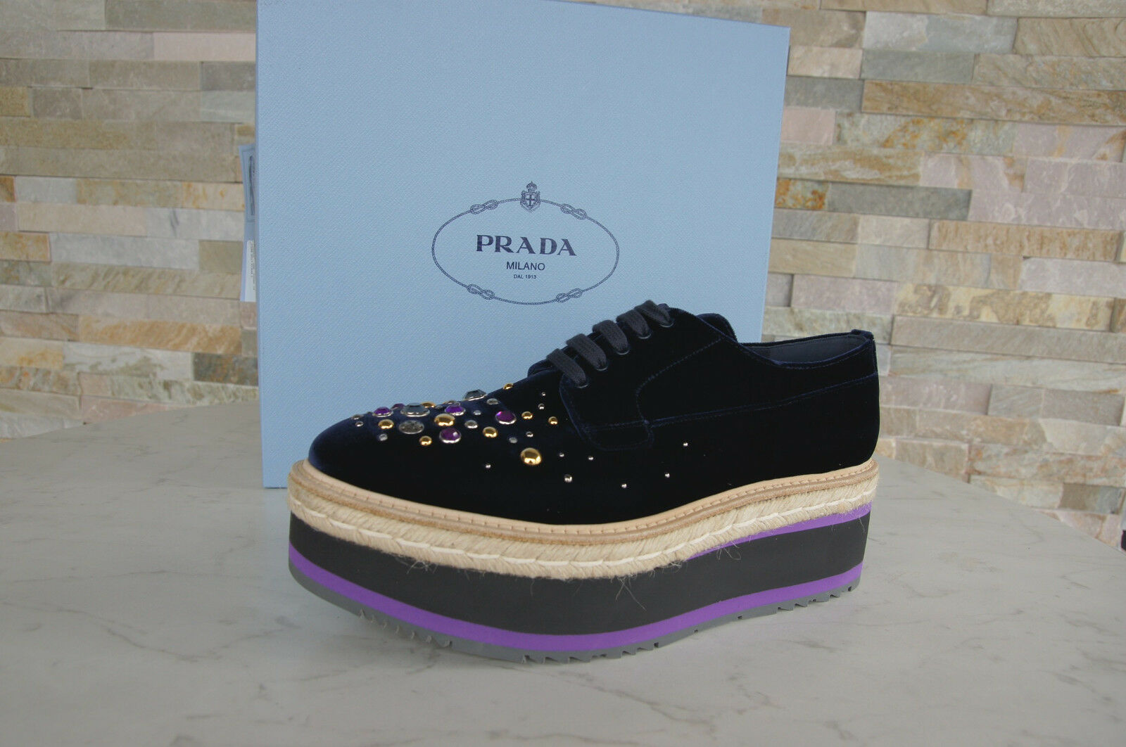 Prada 39,5 Platform Lace up 1e895h shoes shoes shoes Velvet Studs bluee New Formerly Rrp ed835c