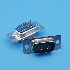 10Pcs DB15 VGA 3Rows 15Pin Male Solder Type Plug Serial Port Adapter