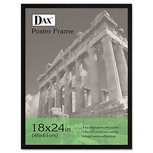 Dax-Flat-Face-Wood-Poster-Frame-Clear-Plastic-Window-18-x-24-Black-Border