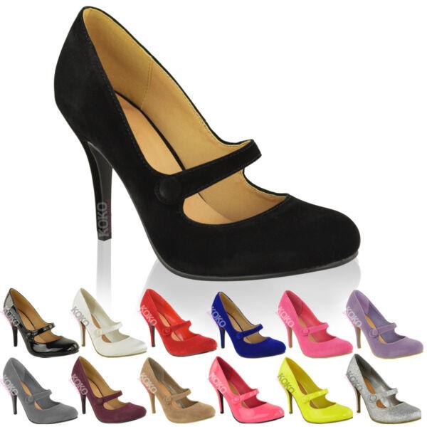 Mujer Medio Bajo Tacón Alto Tira En Tobillo Zapatos De Salón Zapatillas Trabajo