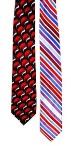 Lot-of-2-Mens-Neck-Tie-Red-Stafford-Alexander-Julian-Colours