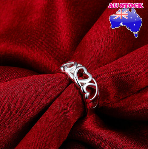 Wholesale 925 Sterling Silver Filled Silver Hollow Love Heart Band Ring Jewelry