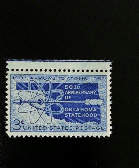1957 3c Oklahoma Statehood, Arrows to Atoms, 50th Scott