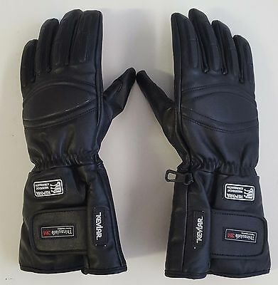 Leather Motorcycle Winter Gloves Double Stitching Finger & Knuckle Padding Black