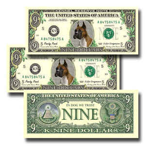 DACHSHUND Pack of THREE Novelty NINE DOLLAR BILLS Dog #1 Doxie