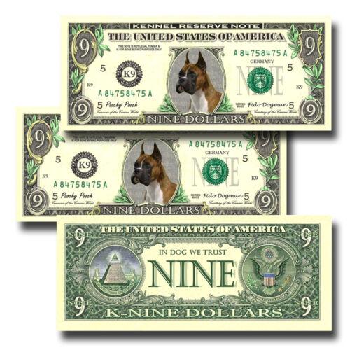 BOXER Pack of THREE Novelty NINE DOLLAR BILLS Dog