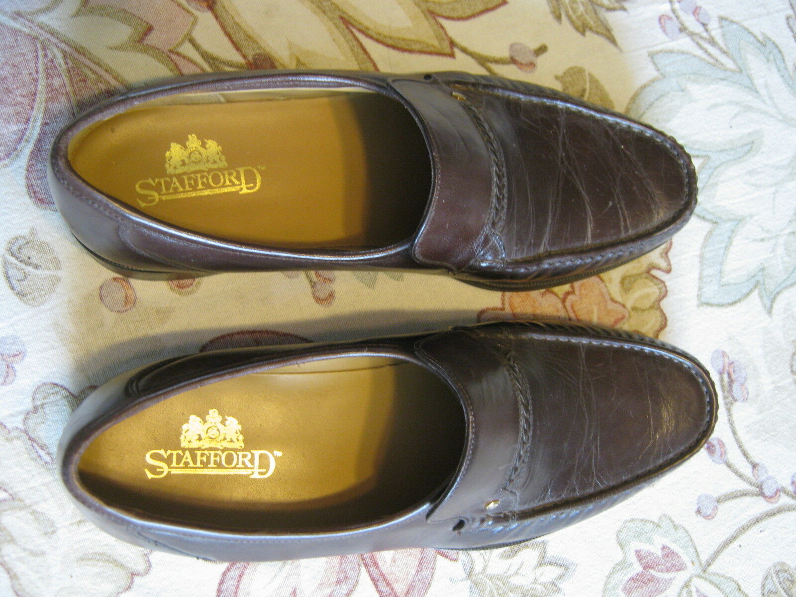 STAFFORD MEN'S LOAFER / SLIP ON SHOES 10 1/2 M BRAID BROWN LEATHER w TOP BRAID M NO BOX 42be4c