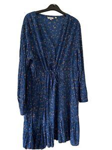 Fat Face Blue Floral Dress Bnwot Size 16 Gorgeous