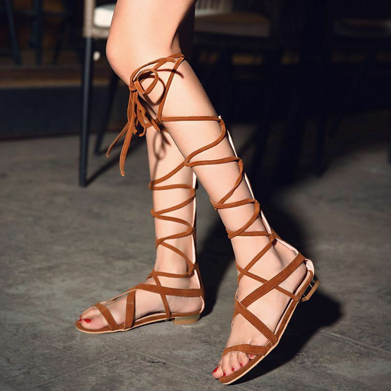 Fashion Gladiator Womens Lace Up Strappy Flats Beach Sandals Roman shoes Hot sz