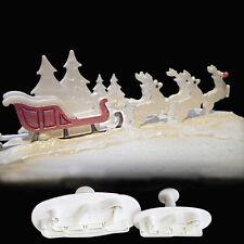 2 pcs Christmas sled Accessary Fondant Cutter Embosser Tool Set Mold