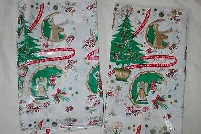 2 Vintage Plastic Christmas Tablecloths Ebay