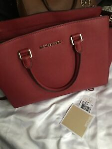 594195bbfea15 Image is loading Michael-Kors-Selma-Large-Saffiano-Leather-Satchel-Red