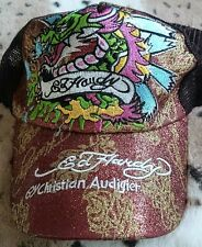Ed Hardy Signature Baseball Cap - Fierce Dragon Graphic Copper & Gold Glitter