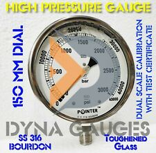 High Pressure Gauge Dual Scale 3000 Bar 43000psi 12 Bsp Bottom Connection