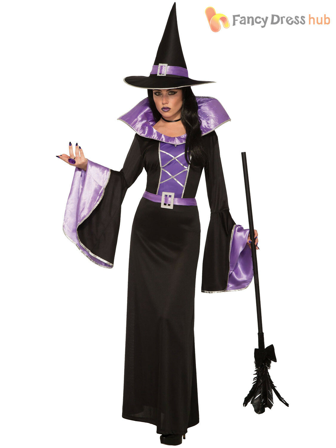Ladies Purple Sorceress Wizard Witch Halloween Fancy Dress Costume Outfit 8-12