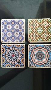 Détails sur Marocain carrelage roulé travertin/marbre/pierre naturelle  unique sous-verres set de 4- afficher le titre d\'origine