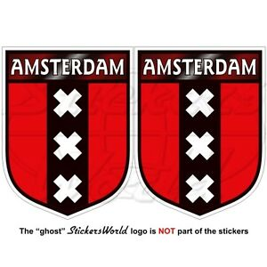 AMSTERDAM-Shield-Netherlands-Dutch-Holland-Vinyl-Decals-Stickers-3-034-75mm-x2