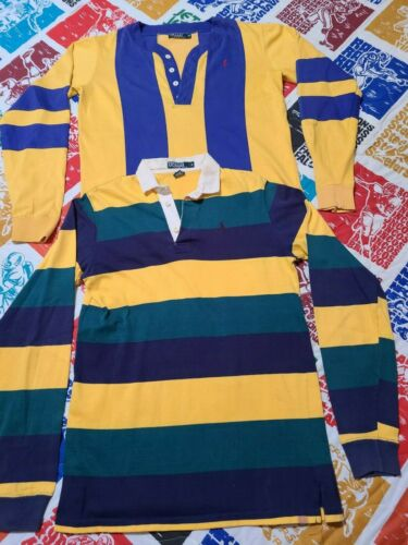 2 Vintage 80s Ralph Lauren Rugby Polo Striped Cot… - image 1