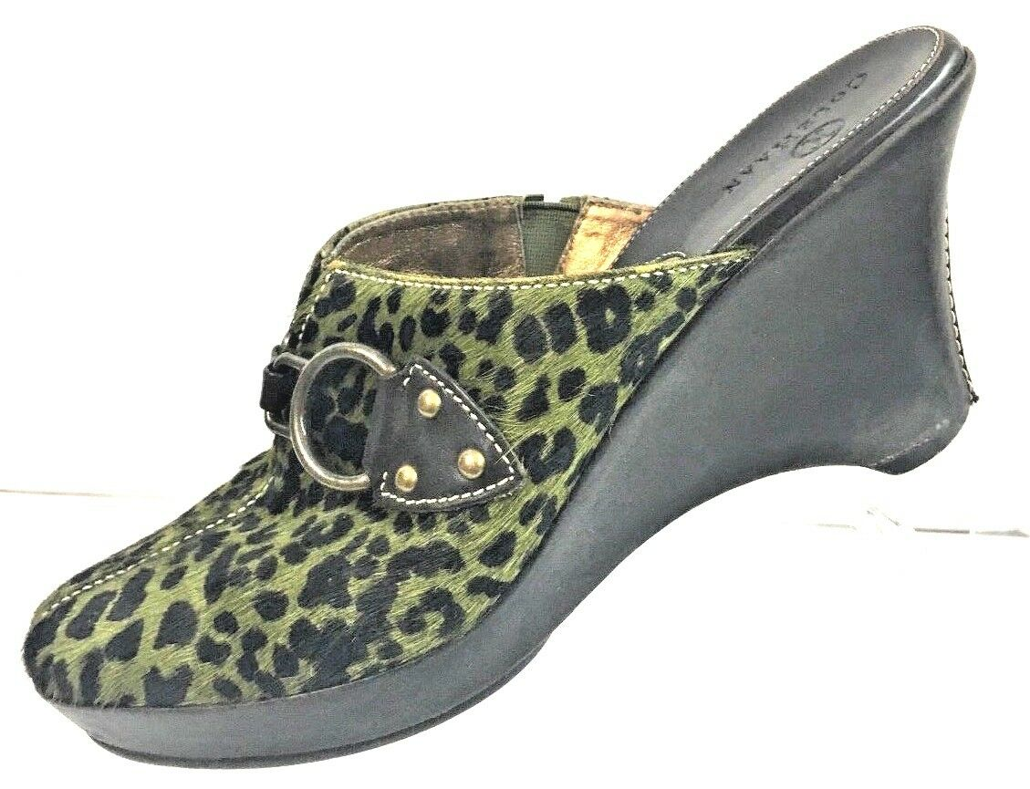 Cole Haan Women's Green Calf Hair Leopard Print Leather Wedges shoes Size 7.5B