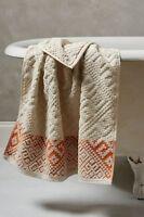Anthropologie Raia Bath Face Towel Washcloth Burnt Orange Cotton Jacquard