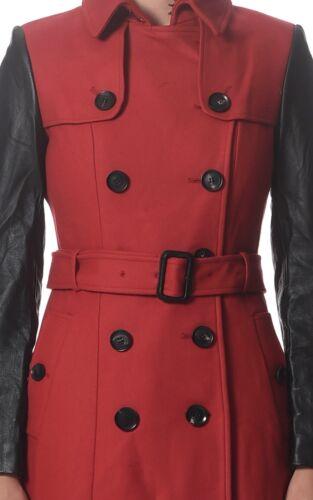et en avec femmes ceintures Trench coat rouge pour Galan en cuir Arthur contrastes laine F1lJcK