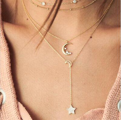 HOT Fashion Multilayer Choker Necklace Star Moon Chain Gold Women Summer Jewelry  | eBay