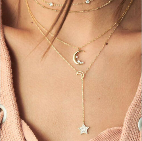 Women Jewelry Fashion Multilayer Choker Necklace Star Moon Chain Gold Summer