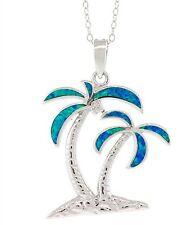 Silver and Opal Two Palm Trees Pendant on a Cable Chain 17 inches