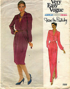 1970's VTG VOGUE Misses' Dress Diane von Furstenberg Pattern 2332 Size 8 Uncut