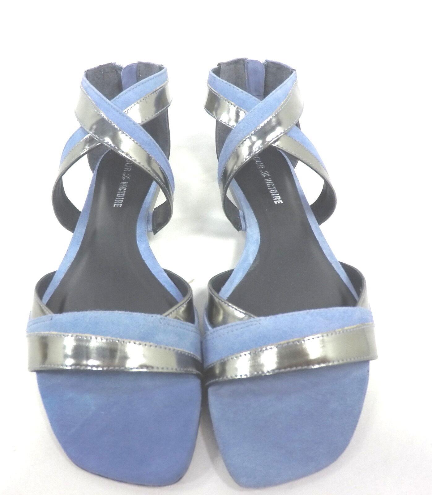 POUR LA VICTOIRE, Blau, BRIENNE SANDAL, Damenschuhe, PEWTER/DUSTY Blau, VICTOIRE, US 9.5 M, EURO 39.5 0e5006