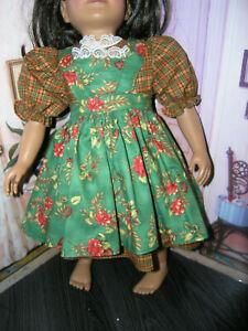 Plaid-Dress-Floral-Print-Apron-2-piece-Dress-23-034-Doll-clothes-fit-My-Twinn