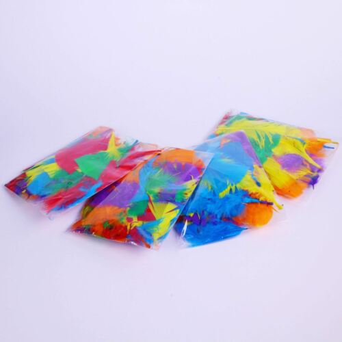 Fluffy Craft Feathers Assorted Coloured for Kids Collage Bright Mix Pack of 28g