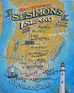 Map Of Georgia Golden Isles.Details About St Simons Island Retro Map Print Art Decor Vintage Georgia Golden Isles