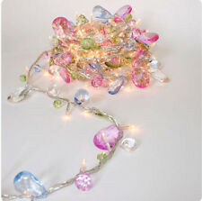 LED 50 Warm White Luxury MAINS Fairy Light Garland with pastel crystal beads