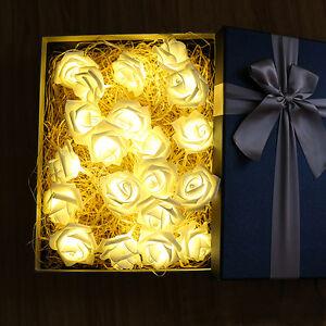 2m20 Led Weiss Lichterkette Rosen Lichtgirlande Hochzeit Tischdeko